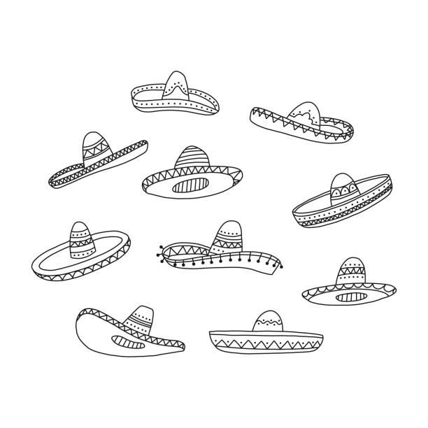 Informationsplakat, Set von Hand gezeichnet mexikanischen Hut. – Vektorgrafik