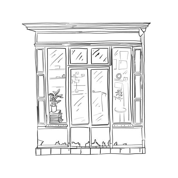 Informationsplakat Skizze front store, Cartoon. – Vektorgrafik
