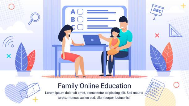 Informative Banner Text Familie Online-Bildung. – Vektorgrafik