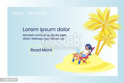 Informative Banner Vacation Call Center Cartoon. Operator Takes Breaks According to Working Schedule. Girl Uses Application to Make Calls from Laptop While Sitting on Island in Lounge Chair.