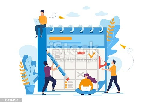 Informative Flyer Daily Business Planning Flat. Banner People Celebrate Important Events on Big Calendar. Poster Guy with Loudspeaker Directs Process, Cartoon. Vector Illustration.