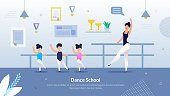 Informative Flyer Inscription Dance School Flat. Creating Your Own Courses for Childrens Sports Training. Woman Choreographer Teaches Children to Dance in Classroom for Children. Vector Illustration.