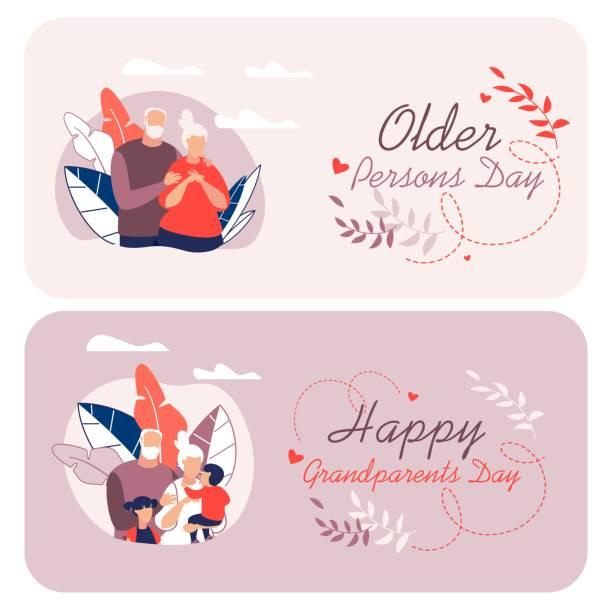ilustraciones, imágenes clip art, dibujos animados e iconos de stock de folleto informativo escrito feliz abuelos dibujo animado. - abuelo