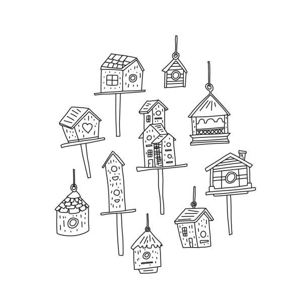 Informative Plakat Vogelhaus Skizze von Hand gezeichnet. – Vektorgrafik