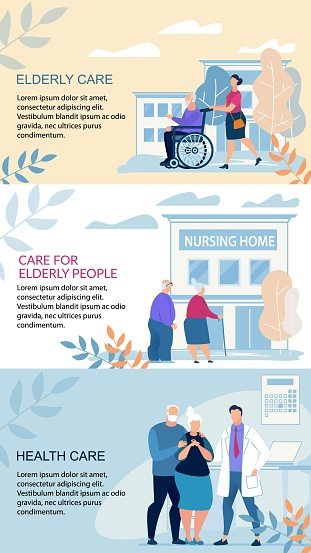 Informative Poster Inscription Elderly Care Flat.