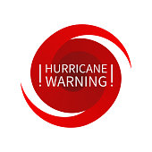 Informing  full red triangular road sign warning about hurricane