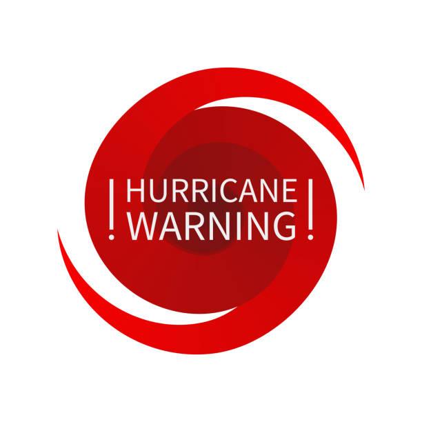 ilustraciones, imágenes clip art, dibujos animados e iconos de stock de informar a la señal de advertencia de huracán - hurricane