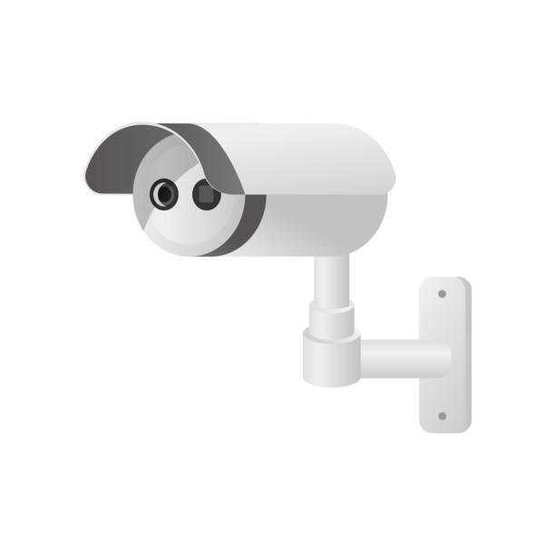 infrarot-überwachungskamera für den außenbereich für den hausschutz - infrarotfotografie stock-grafiken, -clipart, -cartoons und -symbole