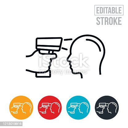 An icon of a temperature gun being used to check the temperature of a persons head. The icon includes editable strokes or outlines using the EPS vector file.
