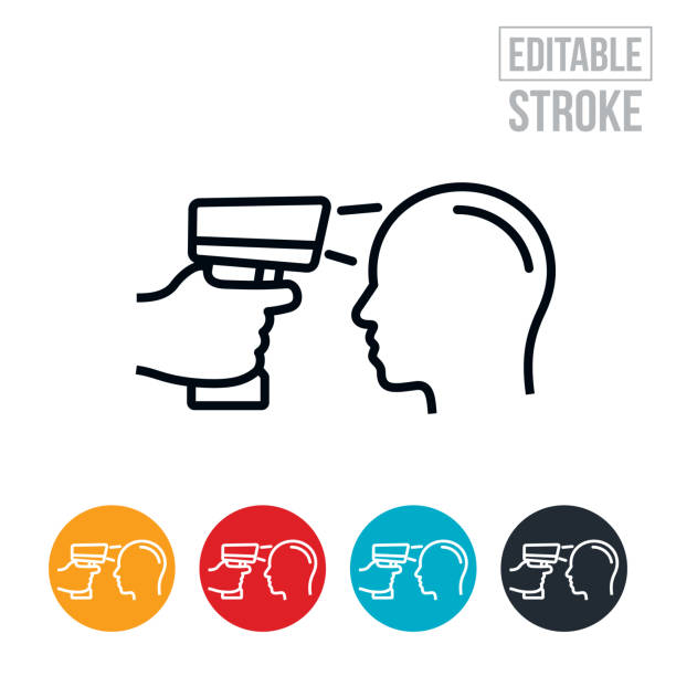 Infrared Thermometer Thin Line Icon - Editable Stroke An icon of a temperature gun being used to check the temperature of a persons head. The icon includes editable strokes or outlines using the EPS vector file. fever stock illustrations