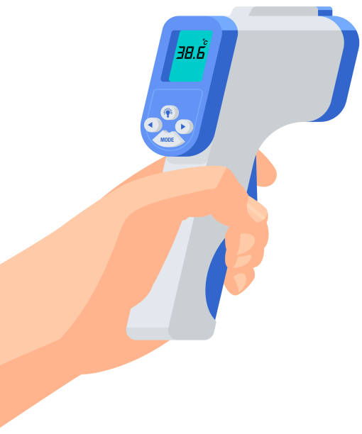 Infrared Thermometer A hand holding infrared thermometer in vector. infrared stock illustrations