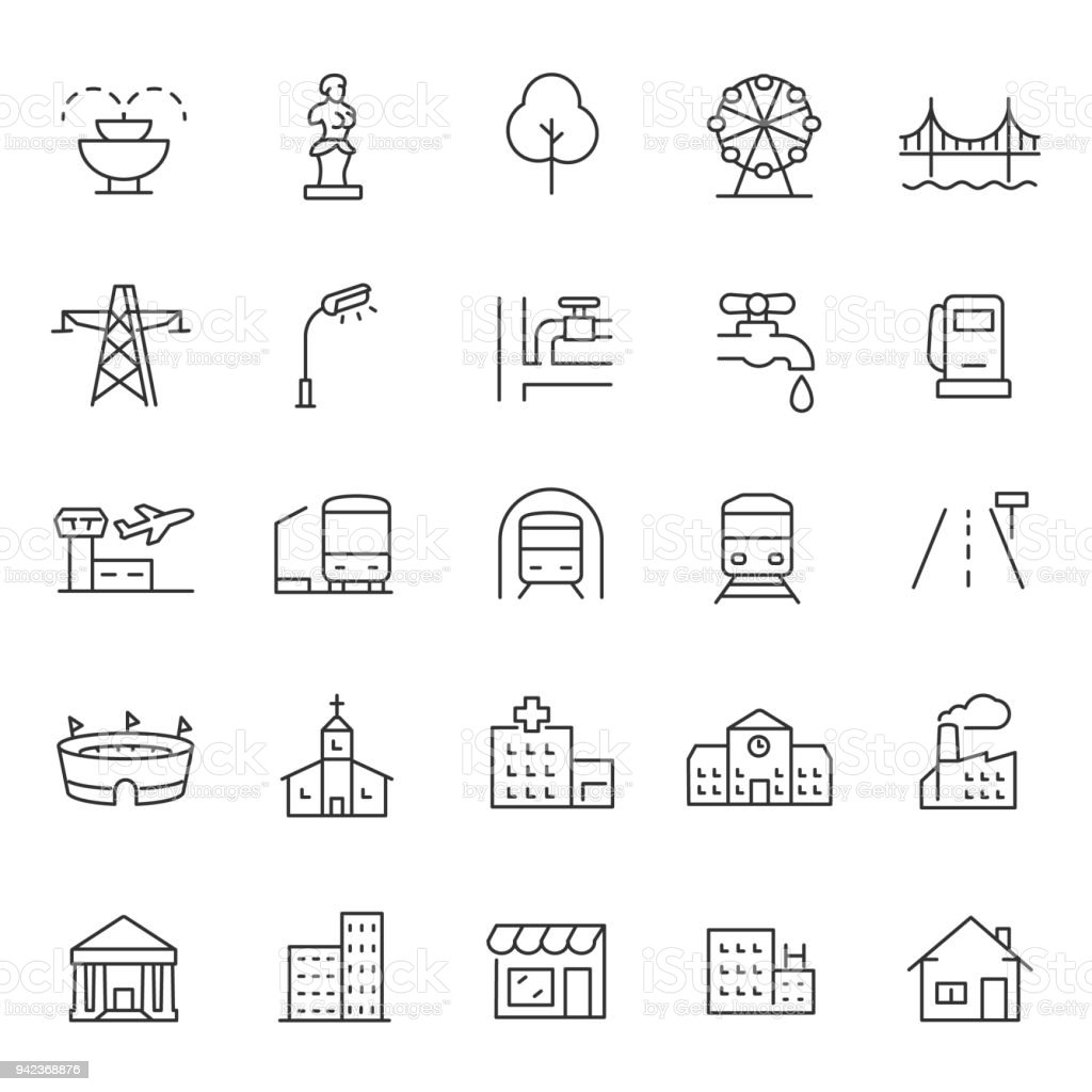 infrastructure and city elements icon set. Line with editable stroke vector art illustration
