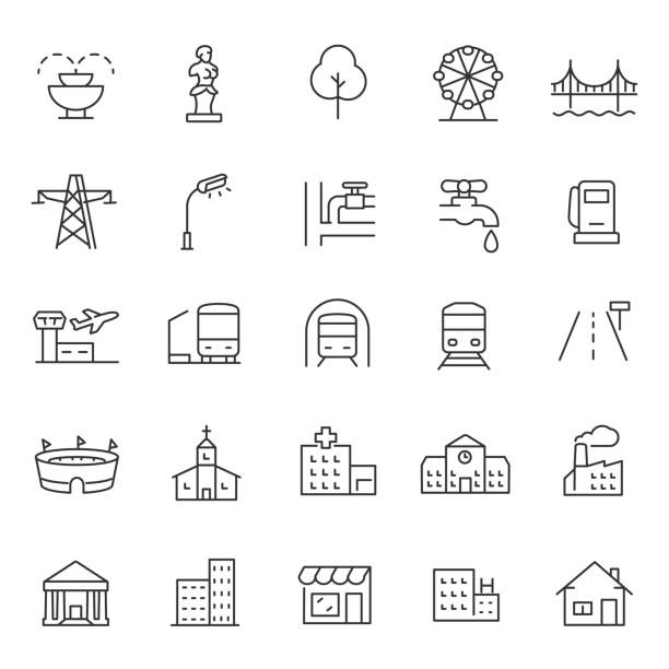 infrastructure and city elements icon set. Line with editable stroke infrastructure and city elements icon set. linear design. Line with editable stroke stadium stock illustrations