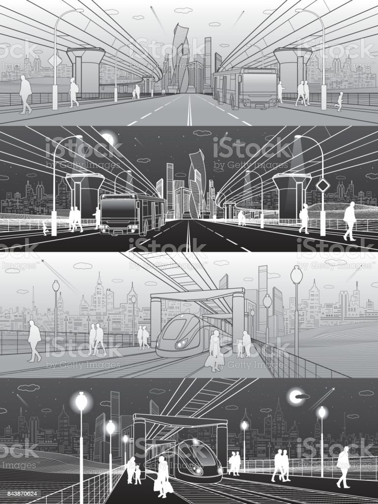Infrastructure and transport panorama set. Monorail railway. People walking under bridge. Train move. Modern city. Wide highway. Passengers left bus. Towers and skyscrapers. Vector design art vector art illustration