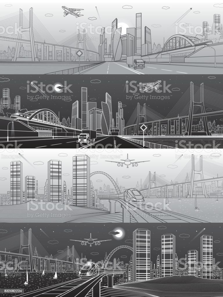 Infrastructure and transport panoramic set. Train move on railway. Airplane fly. Wide highway. Truck rides. Big bridge. Modern city, towers and skyscrapers. White and black lines. Vector design art vector art illustration