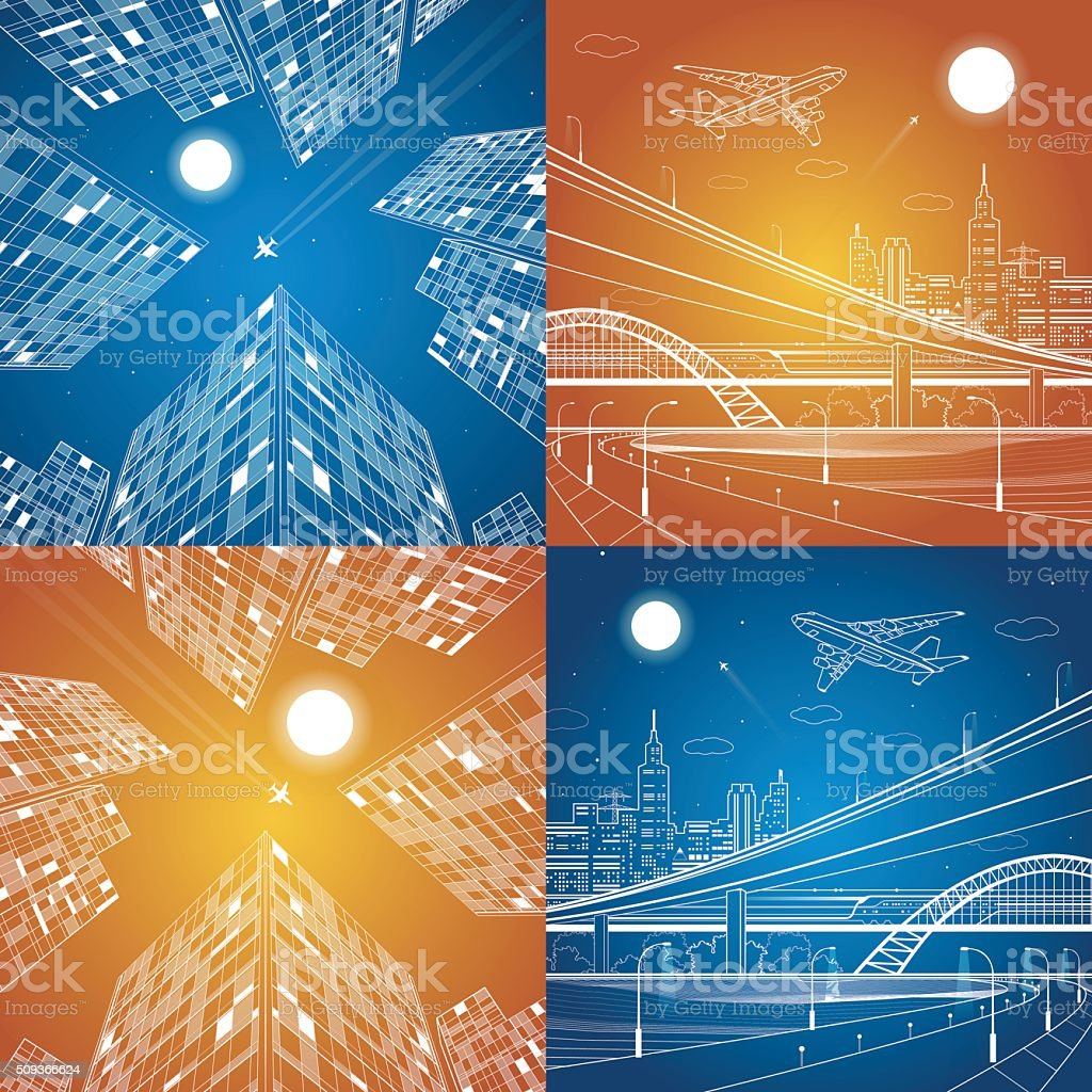 Infrastructure and transportation illustration, vector set vector art illustration