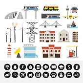 Infrastructure and Transportation Objects and Icons Set