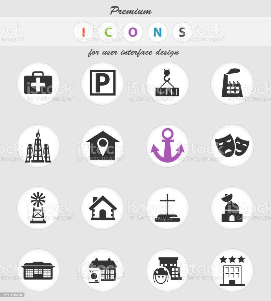 Infrastructure Icon Set Stock Illustration - Download Image