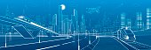 Infrastructure transportation panoramic. Railway bridge. Train rides. Towers and skyscrapers. Urban scene, modern city on background, industrial architecture. White lines, vector design art