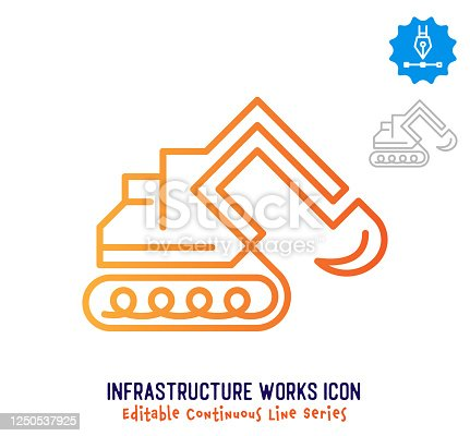 istock Infrastructure Works Continuous Line Editable Icon 1250537925