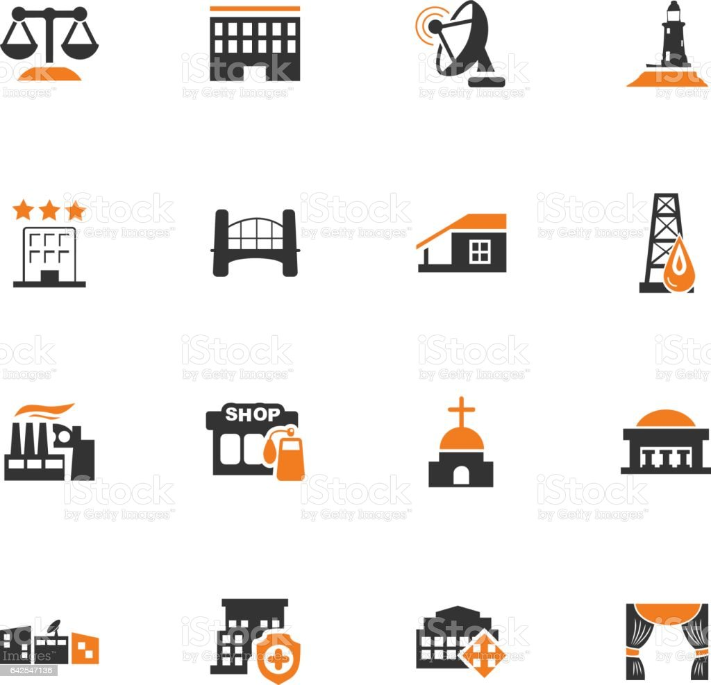 Infrastucture of the city icons set vector art illustration