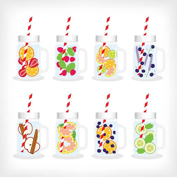 illustrations, cliparts, dessins animés et icônes de eau infusée dans bocal à conserves - infusion pamplemousse