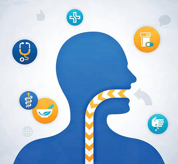 integration geöffneter mund gesundheit und medizinische zeichnung - essen mund benutzen stock-grafiken, -clipart, -cartoons und -symbole
