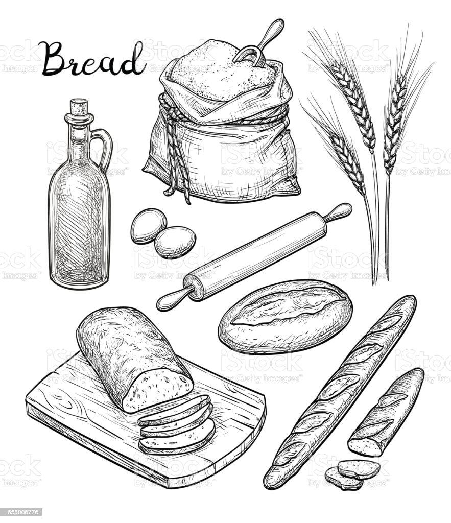 Ingredients and bread set. vector art illustration