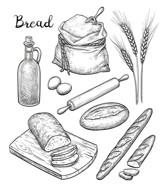 Ingredients and bread set. Ingredients and bread set. Hand drawn vector illustration. Isolated on white background. Retro style. rolling pin stock illustrations