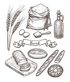Ingredients and bread set. Hand drawn vector illustration. Isolated on white background. Vintage style.