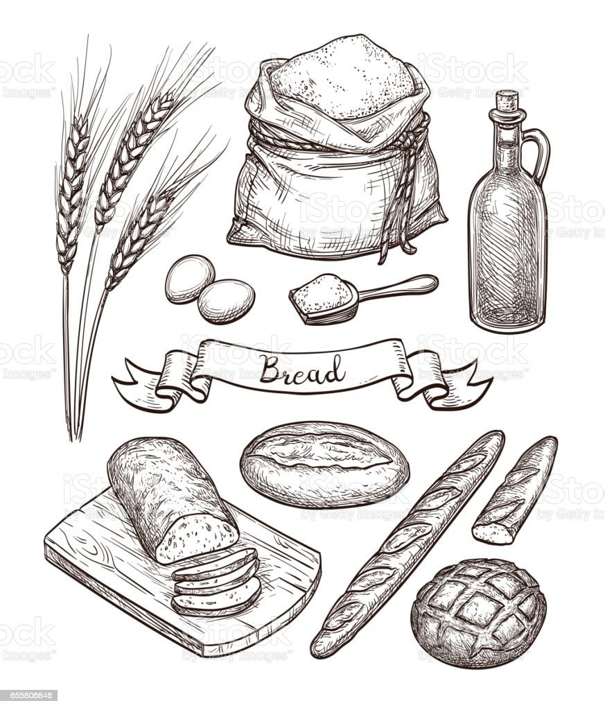 Ingredients and bread set. vector art illustration
