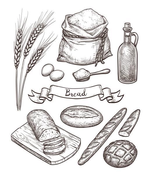 ilustraciones, imágenes clip art, dibujos animados e iconos de stock de ingredientes y conjunto de pan. - comida casera