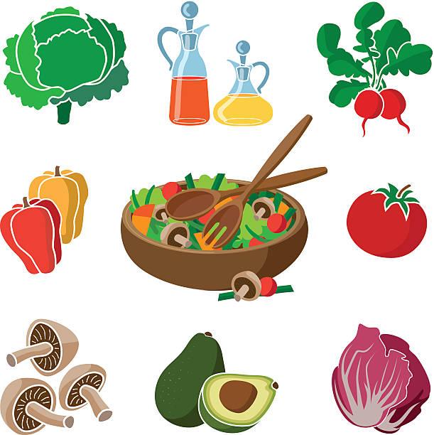 zutaten für einen salat - dressing stock-grafiken, -clipart, -cartoons und -symbole