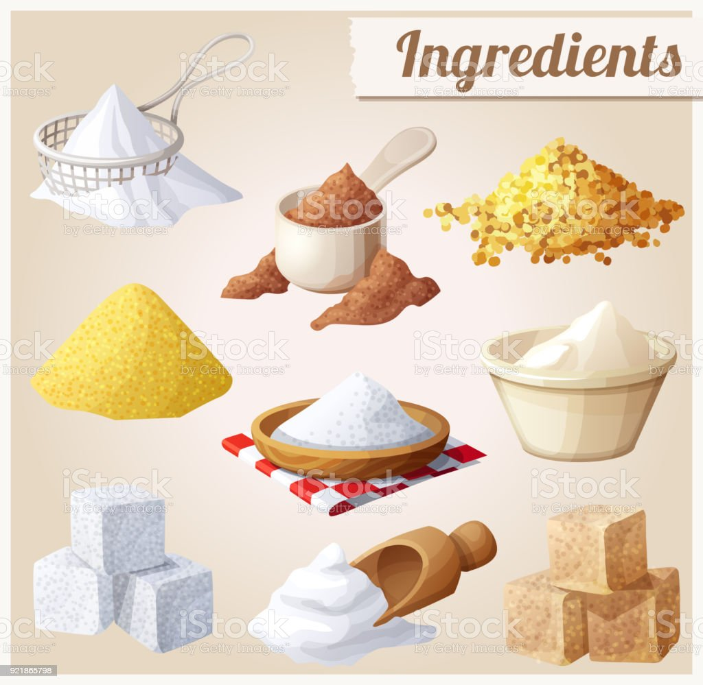 Ingredients for cooking vector art illustration