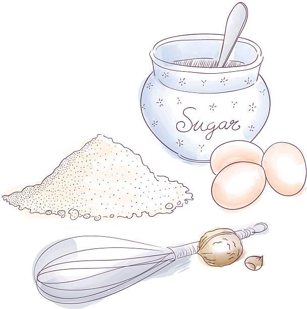 Zutaten für dessert-Bäckerei – Vektorgrafik