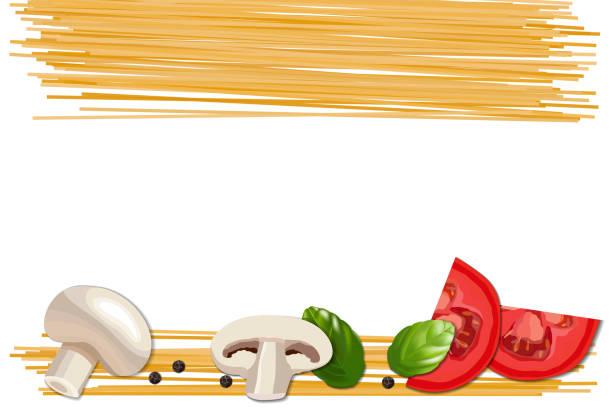 bildbanksillustrationer, clip art samt tecknat material och ikoner med ingredienser för pasta, tomat, svamp, basilika och peppar på vit bakgrund. - tagliatelle mushroom