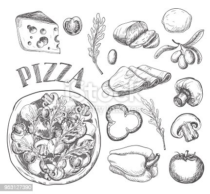 istock Ingredients for pizza such as olives, tomato, mushrooms, mozzarella, arugula, ham, cheese, pepper, drawn in a chalky graphic style 953127390