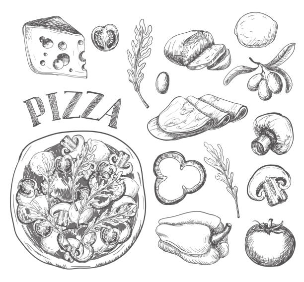 Ingredients for pizza such as olives, tomato, mushrooms, mozzarella, arugula, ham, cheese, pepper, drawn in a chalky graphic style Ingredients for pizza such as olives, tomato, mushrooms, mozzarella, arugula, ham, cheese, pepper, drawn in a chalky  style. mozzarella stock illustrations