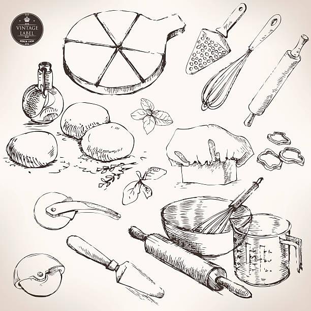 zutaten für pizza, vektor-zeichnung - gluten stock-grafiken, -clipart, -cartoons und -symbole