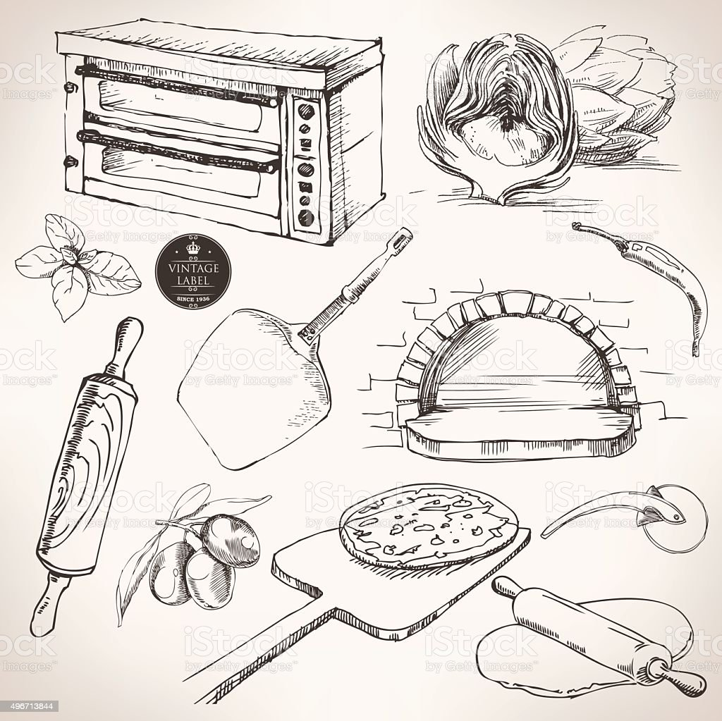 ingredients for pizza, vector drawing vector art illustration