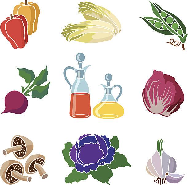zutaten für salat icon-set - dressing stock-grafiken, -clipart, -cartoons und -symbole