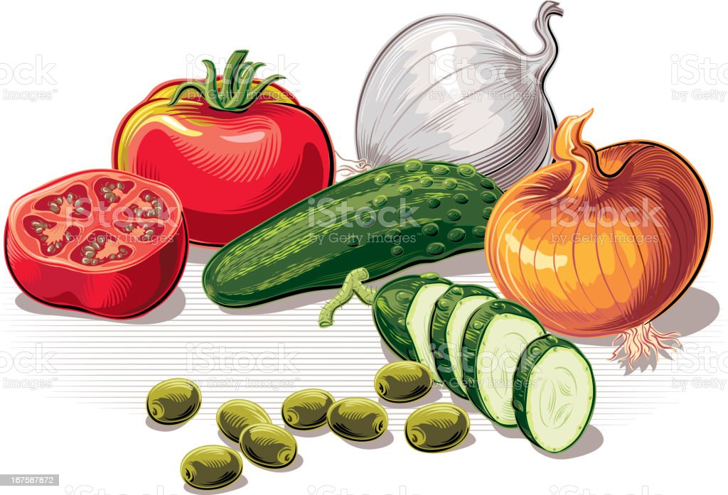 ingredients for salad royalty-free stock vector art
