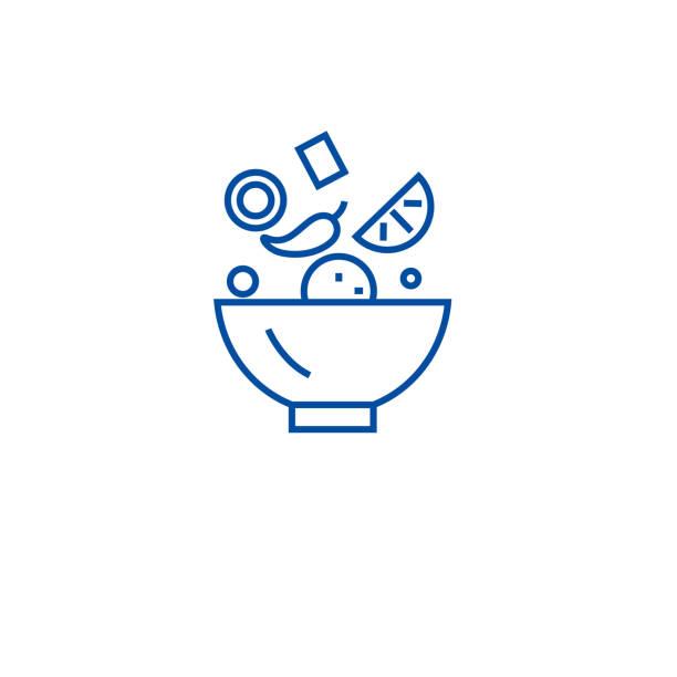 ilustrações, clipart, desenhos animados e ícones de conceito do ícone da linha da mistura dos ingredientes. os ingredientes misturam o símbolo liso do vetor, sinal, ilustração do esboço. - ingredientes