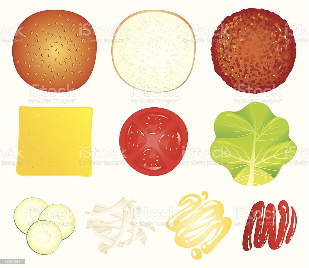 ingredients of a hamburger royalty-free stock vector art