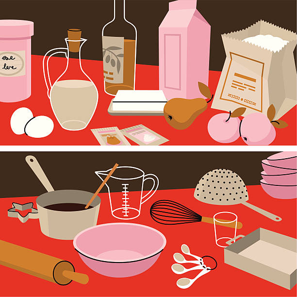 Ingredients&Instruments. Set of Ingredients and Instruments. measuring cup stock illustrations