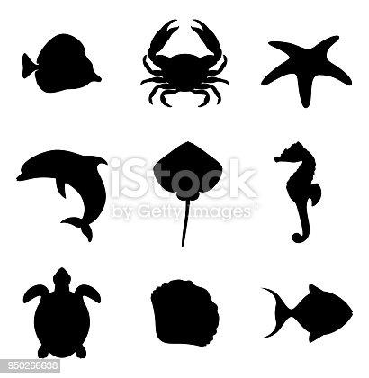 Marine life icons set. Sea life set of silhouettes. Vector illustration.