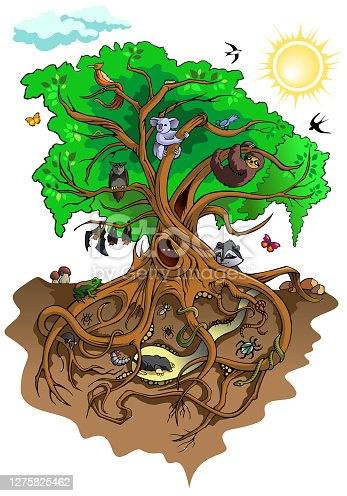 Different creatures living with tree, vector illustration