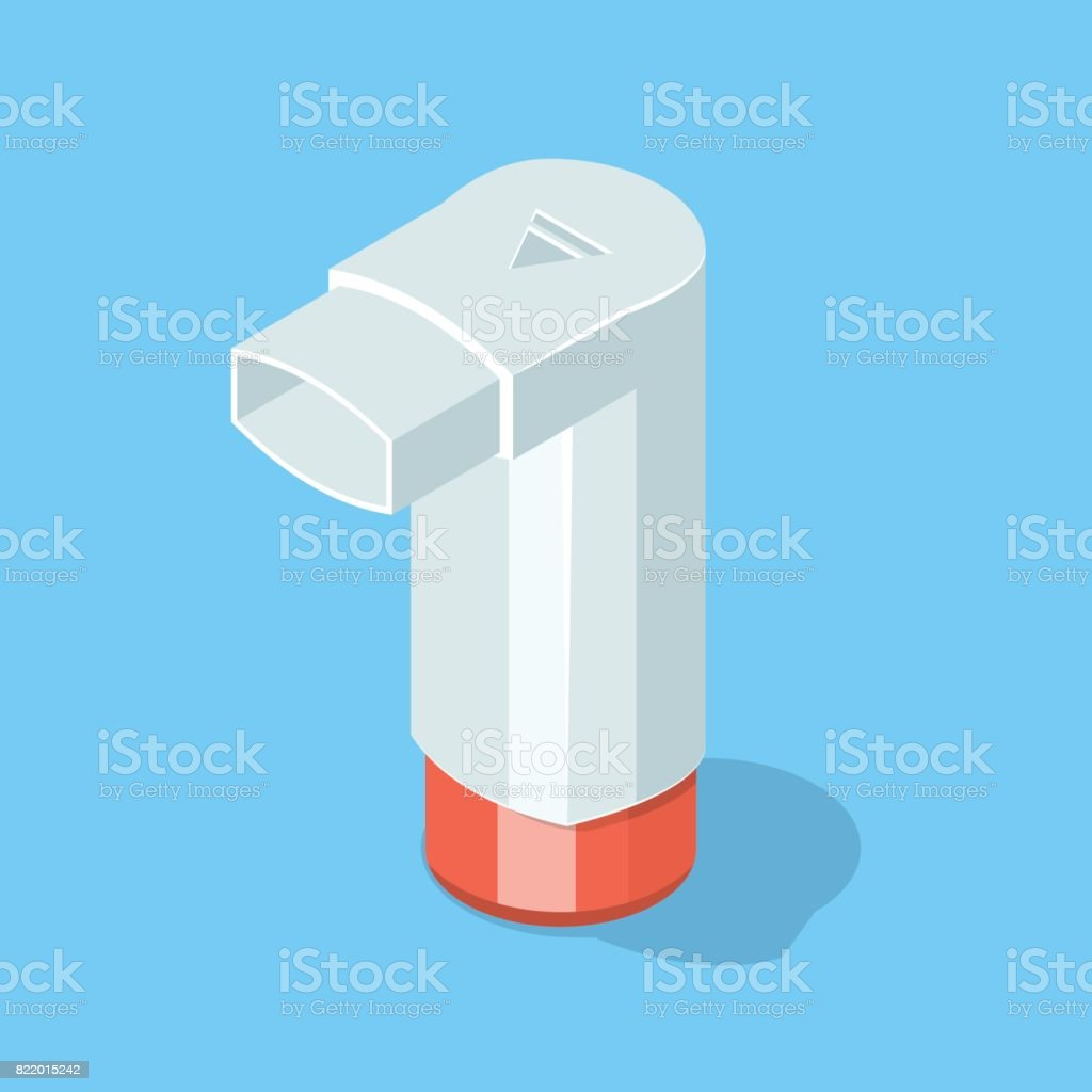 Inhaler for asthmatic. vector art illustration