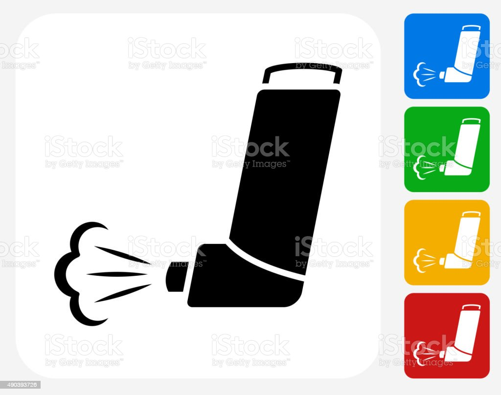 Inhaler Icon Flat Graphic Design vector art illustration
