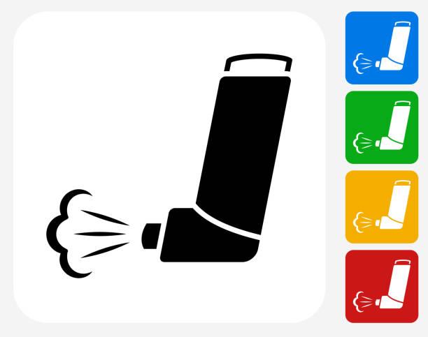 Inhaler Icon Flat Graphic Design vector art illustration
